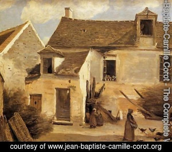 Jean-Baptiste-Camille Corot - Courtyard of a Bakery near Paris