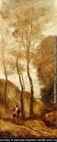 Jean-Baptiste-Camille Corot - Horse and Rider in a Gorge