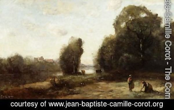 Jean-Baptiste-Camille Corot - Field by a River