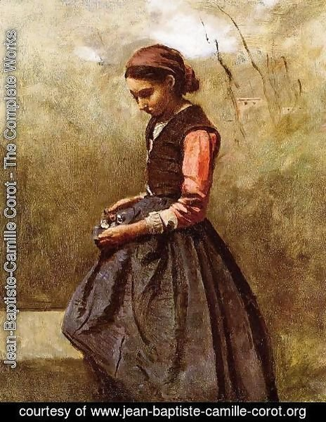 Jean-Baptiste-Camille Corot - Pensive Young Woman