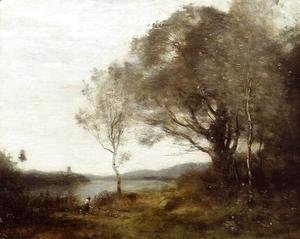 Jean-Baptiste-Camille Corot - Strolling along the Banks of a Pond