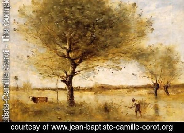Jean-Baptiste-Camille Corot - Pond with a Large Tree