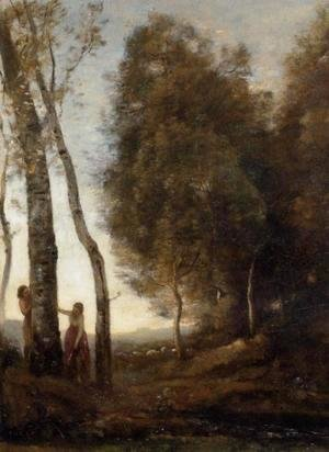 Jean-Baptiste-Camille Corot - Shepherd and Shepherdess at Play