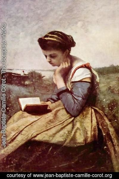 Jean-Baptiste-Camille Corot - Woman Reading in a Landscape