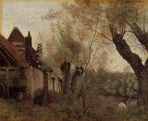 Jean-Baptiste-Camille Corot - Willows and Farmhouses at Saint-Catherine-les Arras