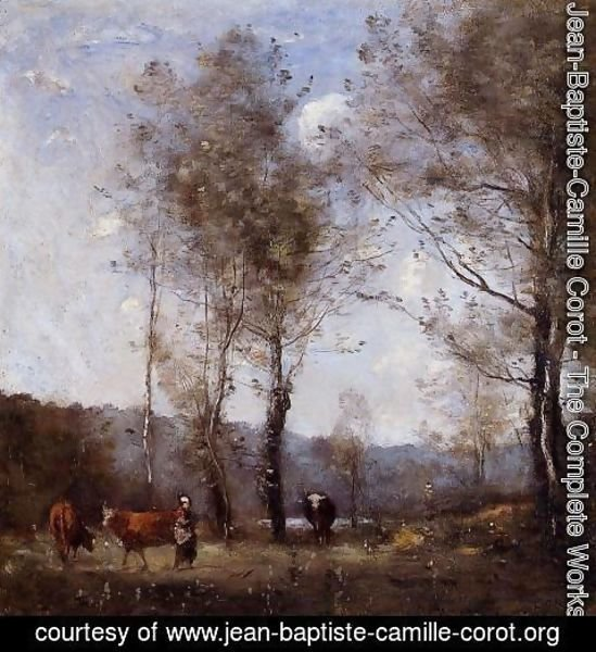 Jean-Baptiste-Camille Corot - Ville d'Avray, Cowherd in a Clearing near a Pond