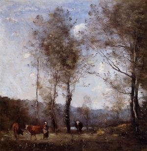Ville d'Avray, Cowherd in a Clearing near a Pond