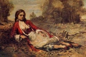 Jean-Baptiste-Camille Corot - Young Algerian Woman Lying on the Grass
