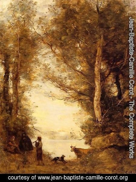 Jean-Baptiste-Camille Corot - Flute Player at Lake Albano