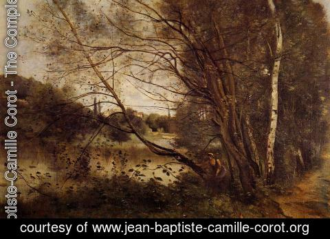 Jean-Baptiste-Camille Corot - Pond at Ville d'Avray, with Leaning Trees