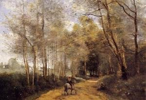 Jean-Baptiste-Camille Corot - Ville d'Avray - Horseman at the Entrance of the Forest