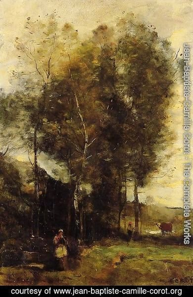Jean-Baptiste-Camille Corot - Cowherd in a Dell, Souvenir of Brittany