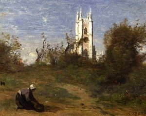 Jean-Baptiste-Camille Corot - Landscape with a White Tower, Souvenir of Crecy
