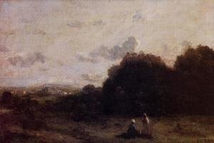 Jean-Baptiste-Camille Corot - Fields with a Village on the Horizon, Two Figures in the Foreground