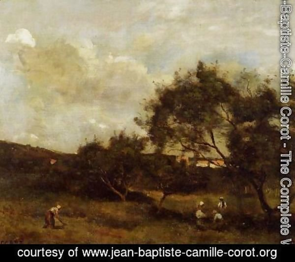 Jean-Baptiste-Camille Corot - Peasants near a Village