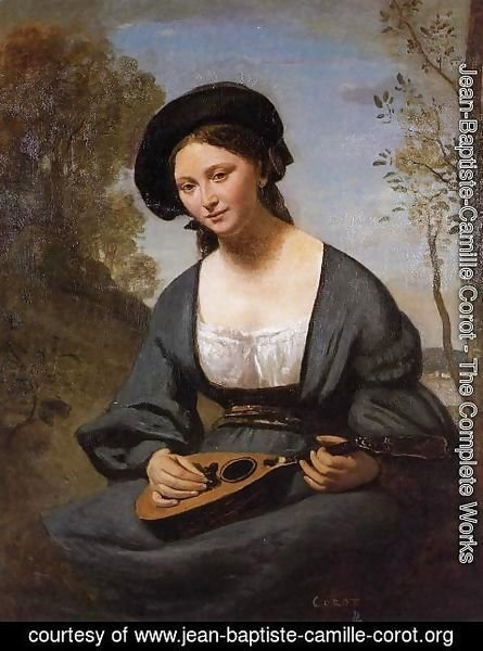 Jean-Baptiste-Camille Corot - Woman in a Toque with a Mandolin