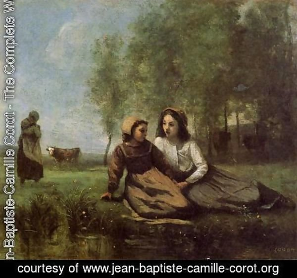 Jean-Baptiste-Camille Corot - Two Cowherds in a Meadow by the Water