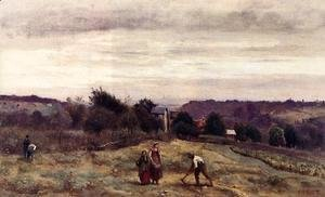 Jean-Baptiste-Camille Corot - Ville d'Avray - the Heights: Peasants Working in a Field