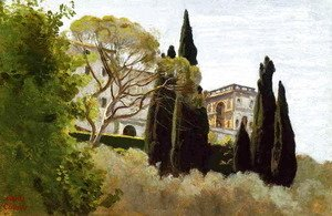 Jean-Baptiste-Camille Corot - The Facade of the Villa d'Este at Tivoli, View from the Gardens