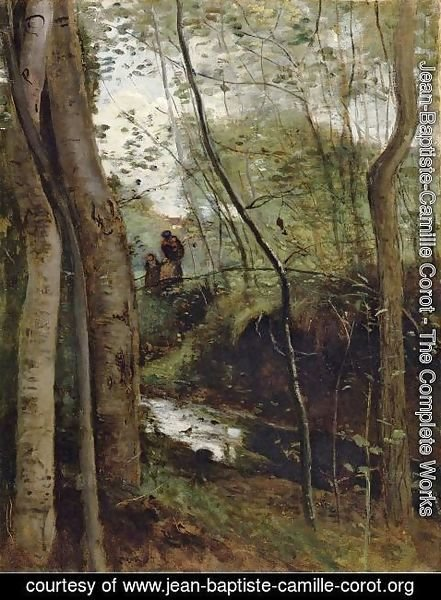Jean-Baptiste-Camille Corot - Stream in the Woods