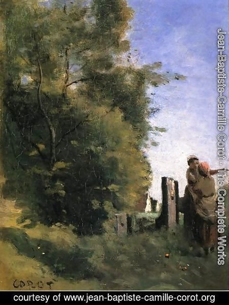 Jean-Baptiste-Camille Corot - Two Women Talking by a Gate