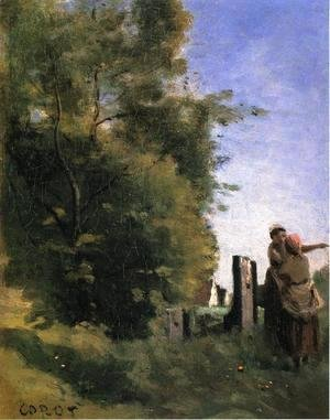 Two Women Talking by a Gate