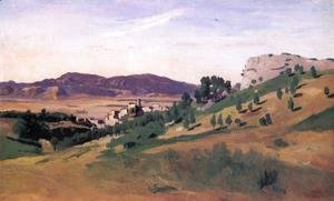 Jean-Baptiste-Camille Corot - Olevano, the Town and the Rocks