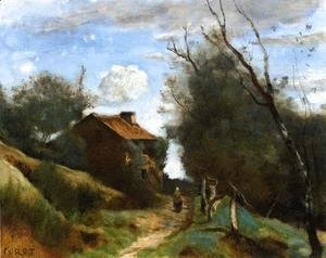 Jean-Baptiste-Camille Corot - Path Towards a House in the Countryside