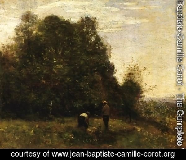 Jean-Baptiste-Camille Corot - Two Figures - Working in the Fields