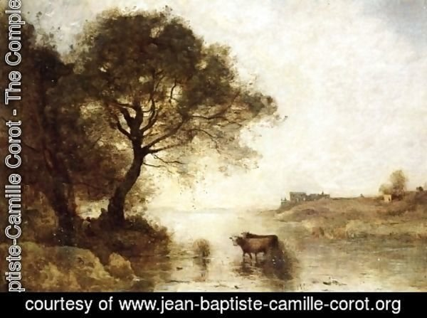 Jean-Baptiste-Camille Corot - A Ford with Large Trees