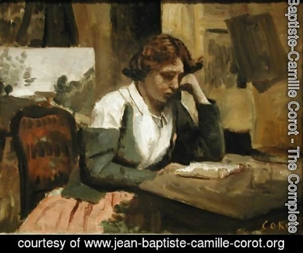 Jean-Baptiste-Camille Corot - Girl Reading