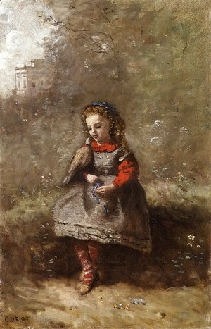 Jean-Baptiste-Camille Corot - Mlle. Leotine Desavary Holding a Turtledove