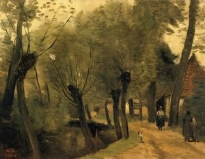 Jean-Baptiste-Camille Corot - LaBuissiere, near Bethune (pas de Calais): Lane Bordered by Willows