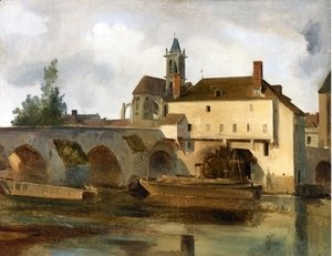 Jean-Baptiste-Camille Corot - Moret sur Loing, the Bridge and the Church