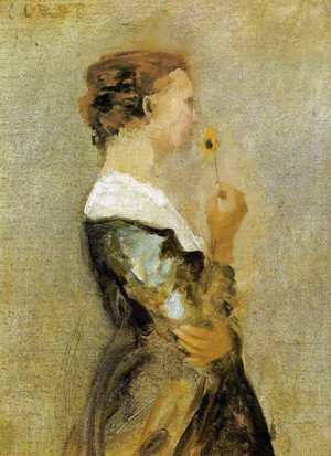 Jean-Baptiste-Camille Corot - A woman with a flower