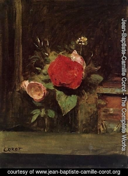 Jean-Baptiste-Camille Corot - Bouquet of Flowers in a Vase next to a Pot of Tobacco