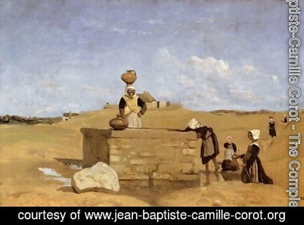 Jean-Baptiste-Camille Corot - Breton Women at the Fountain