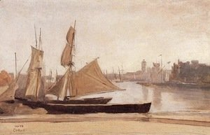 Jean-Baptiste-Camille Corot - Dunkirk, Fishing Boats Tied to the Wharf