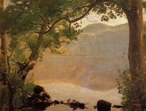 Jean-Baptiste-Camille Corot - Lake Nemi, Seen through Trees