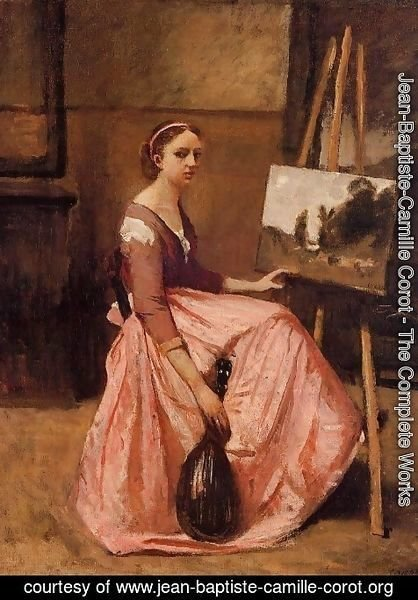 Jean-Baptiste-Camille Corot - Young Woman in a Red Dress
