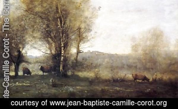 Jean-Baptiste-Camille Corot - Pond with Three Cows (also known as Souvenir of Ville d'Avray)