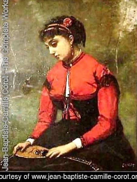 Jean-Baptiste-Camille Corot - Young Woman in a Red Bodice Holding a Mandolin
