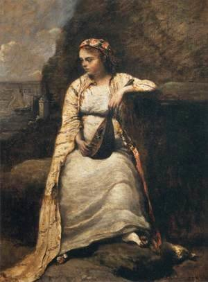 Jean-Baptiste-Camille Corot - Haydee, Young Woman in Greek Dress