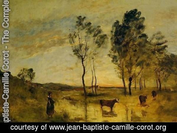 Jean-Baptiste-Camille Corot - Le Gue (aka Cows on the Banks of the Gue) 1870-1875