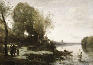 Jean-Baptiste-Camille Corot - River with a Distant Tower 1865