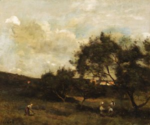 Jean-Baptiste-Camille Corot - Paysans en vue d'un village (Peasants within sight of a Village)