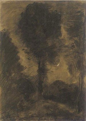 Jean-Baptiste-Camille Corot - A landscape with figures among trees