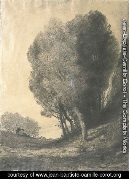 Jean-Baptiste-Camille Corot - A landscape with figures by trees