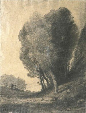 A landscape with figures by trees