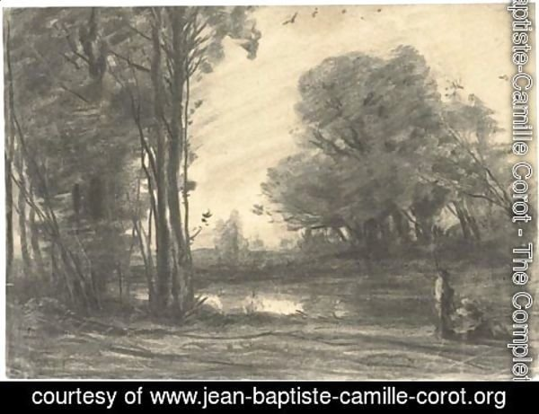 Jean-Baptiste-Camille Corot - A wooded river landscape with a man by a pond